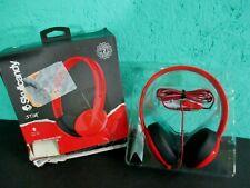 Skullcandy Stim On-Ear Headphones Red Headset With Mic Adjustable Low Profile
