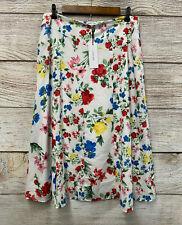 Calvin Klein Skirt Womens Size 6 Ivory Multi Floral Long Zip Waist Skirt New