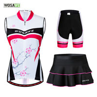 Ladies Cycling Sets Vest Jersey Skirts Shorts Gel Padded MTB Bike Tops Quick Dry