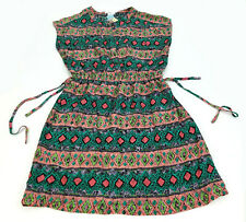 Esley Short Sleeve Geometric Print Casual  Rayon Summer Button Dress (A1-101)