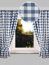 2er-Set Landhausvorhang Karo mit Edelweis Dekoschal blau-weiß kariert Reihband