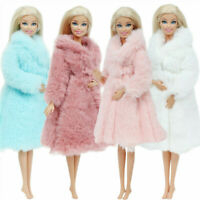 Beautiful Barbie Fur Coat Dress Clothes Doll Accessories Girls Outfits Toys Gift
