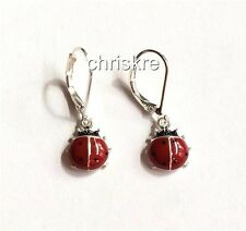 Silver Plated Ladybug Earrings Lady Bug Insect Red Black Enamel Hypoallergenic