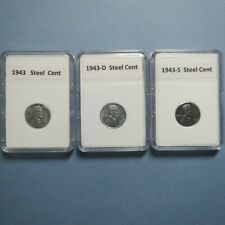 "1943 P/D/S  SCARCE LINCOLN ""STEEL""  WAR CENTS, GEM BU Coins in Display Cases"