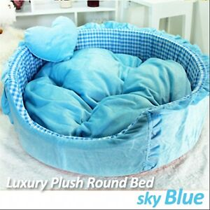 Luxury Pet Bed- Sky Blue Large Round Plush Supersoft Cuddly Bed Dog/Cat