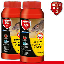 Protect Home 2x 500g Rodicum Ratten Appât Portions (50 Sac 10g) Lutte Contre