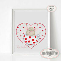 Sweety Mouse Valentine's Day - Cross stitch PDF Pattern 120