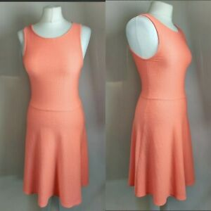 New Look Women's Dress Orange Peach Skater Sleevless Summer Blogger Textured 8