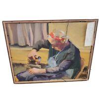 Vintage Framed Oil On Masonite Painting Double Sided by Linda Kolar 1994