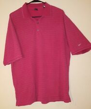 Nike Golf Red Stripe Men's Large L Polo Dri-Fit Short Sleeve Shirt