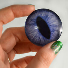 Pair of 40mm Blue Cat or Dragon Glass Eyes Cabochons Set - Doll or Jewelry DIY