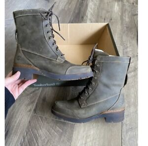 Timberland Gracelyn Waterproof Mid Lace Side-Zip Boot green size 6.5 NEW $170