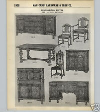 1939 40 PAPER AD 2 Page Arundel Jacobean Wood Wooden Dining Room Suite Set