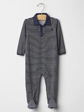 GAP Baby Boys Size Newborn Blue / Gray Striped Velour Footed One-Piece Romper