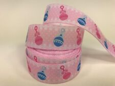 "By The Yard 7/8"" Pink Baby Rattles Baby Shower Grosgrain Ribbon Diaper Cake Lisa"