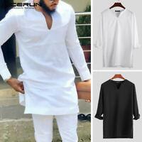INCERUN Men's V Neck Long Shirt Slim Fit Kaftan Formal Kurta Shirt Blouse Tunic