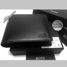 BRAND NEW DESIGNER HUGO BOSS 'AREZZO' MENS TRIFOLD BLACK COIN POCKET WALLET