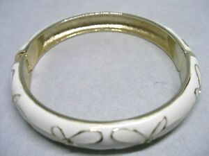 """Gold Tone and White Cloisonné Clamper Bracelet Circumference 8 1/2"""" Wt1.3oz."""