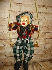 VINTAGE CLOWN DOLL WITH PORCELAIN FACE ON SWING GREEN PLAID SOFT BODY MARIONETTE