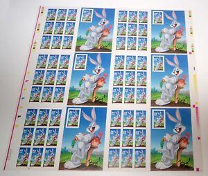 USA #3137c Bugs Bunny Press Sheet of 60 Bottom Plate ID Stamps Postage 1997 MNH