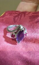 Two Custom Rings, Amethyst Centre, 2 Pink Rubies, 18ct White Gold FREE POSTAGE