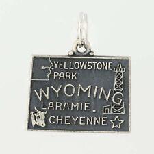 Wyoming State Charm - Sterling Silver Souvenir Travel Keepsake