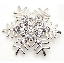 Amazing Shiny Silver & White Snowflake Brooch Pin Christmas Gift BR111