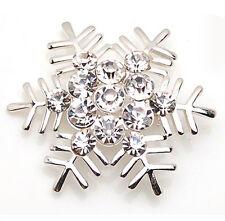 Amazing Shiny Silver & White Snowflake Brooch Pin Christmas Gift BR111