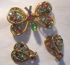 Vintage Judy Lee Jelly Belly & Rhinestones Butterfly Pin -Matching Wing Earrings