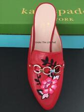 NIB KATE SPADE Mules CANYON Sz 8.5 M RED LEATHER Shoes 8-1/2 NEW ~OVER 60% OFF!