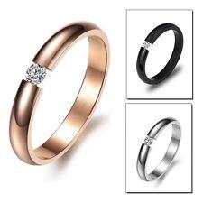 Edelstahl Ring Fingerring 3mm Damenring Zirkonia Stein Silber Schwarz Rosegold