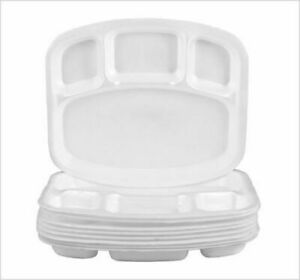 Compartment Plates White Foam Polystyrene Disposable 26cm Party Plate 4 Sections