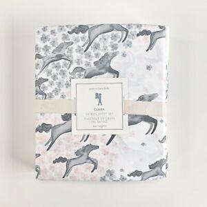 new Pottery Barn Kids Clara Horse Sateen Sheet Set Queen grey blush