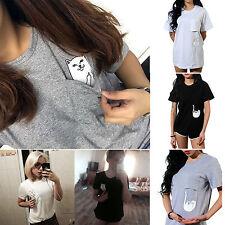 Women Summer Short Sleeve Cat Tshirt Funny Pocket Cartoon Blouse T-shirt Tops AU