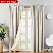100% Blackout 2 Pc Rod Pocket Faux Linen Thermal Bedroom Window Curtain Drapes