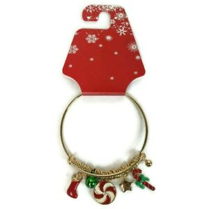 Christmas~Stocking~Candy Cane~Peppermint~Charms Gold Tone Bangle Bracelet NEW
