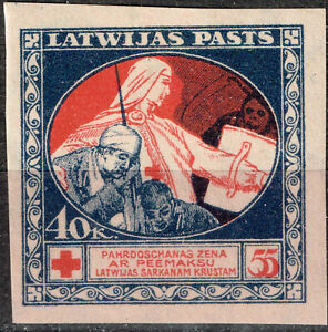 Latvia WW1 Red Cross Nurse and wounded Soldier stamp 1919 MLH imperforated