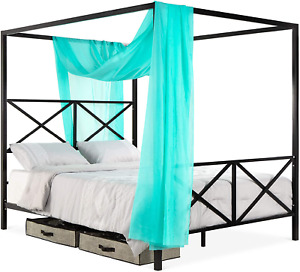 Best Choice Products 4-Post Queen Size Modern Metal Canopy Bed w/Mattress Suppor