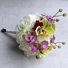 Orchid, Anemone and Rose Silk Brides Bouquet - Wedding Flowers