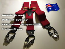 High-Quality, 6-Clip, 5 cm Men's Suspenders (Aussie Brand: Duke of Sydney)