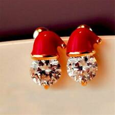 Earrings Novelty Stud Earrings Party Jewelry 1 Pair Crystal Santa Hat Christmas