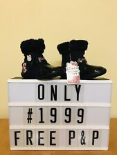 Hello Kitty Baby Girls Black Winter Boots Size 4