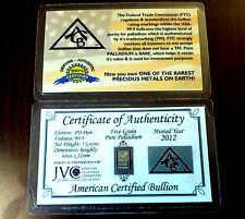 ACB Palladium 5Grain w/COA (5 Pack) 99.9 Pure Precious Metal Bullion Pd BARS #