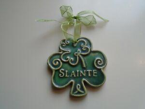 "Beautiful Ceramic Irish Shamrock ""Slainte"" Ornament With Ribbon"