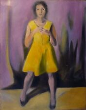 WOMAN IN YELLOW DRESS portrait original oil painting canvas CLASSICAL STYLE art