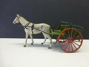 Vintage Britains Metal Lead Horse Drawn Farm Wagon Carriage Toy