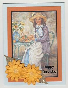 Blank Handmade Greeting Card ~ HAPPY BIRTHDAY with LADY AND FLOWERS ~