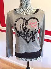 LADY'S DKNY LOVE NY GRAY & BLACK DOUBLE LAYER TANK TOP LONG SLEEVE SHIRT SIZE XL