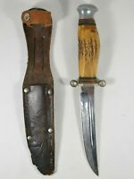RARE Vtg Loffe Solingen Germany Stag Handle Stainless Knife AS IS