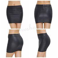 Sexy Women's Mini Skirt Elastic Leather Short Dress  Wetlook Zippered Plus Size